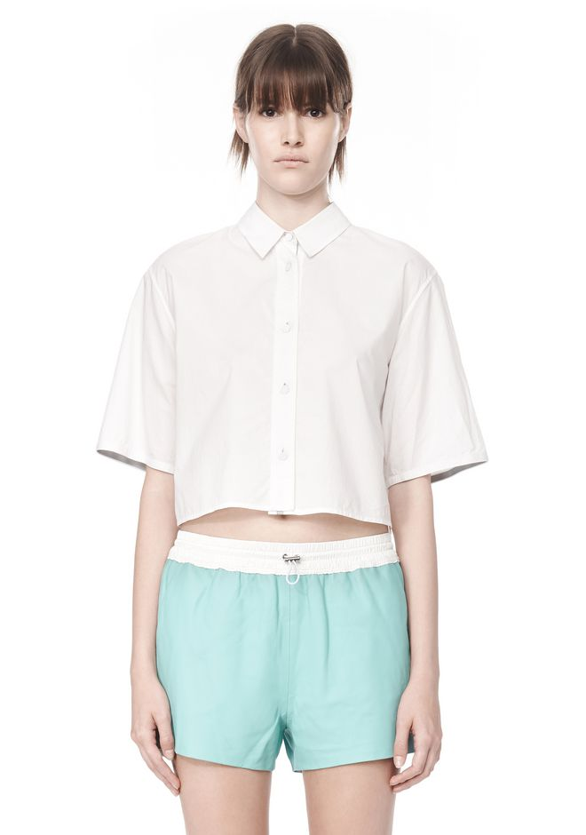 T by ALEXANDER WANG CROPPED SHORT SLEEVE POPLIN SHIRT TOP Adult 12_n_e