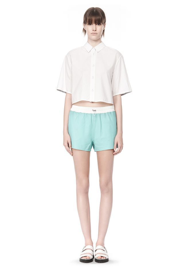 T by ALEXANDER WANG CROPPED SHORT SLEEVE POPLIN SHIRT TOP Adult 12_n_f