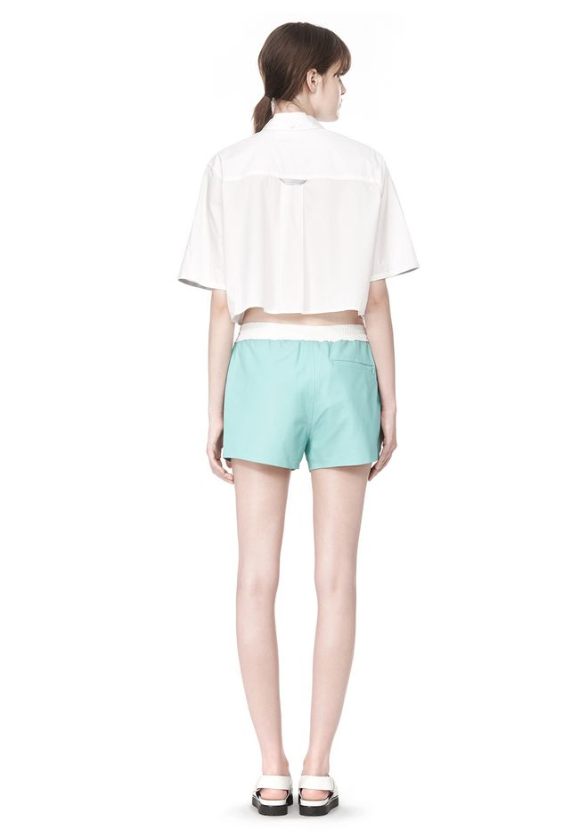 T by ALEXANDER WANG CROPPED SHORT SLEEVE POPLIN SHIRT TOP Adult 12_n_r