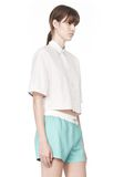 T by ALEXANDER WANG CROPPED SHORT SLEEVE POPLIN SHIRT TOP Adult 8_n_a