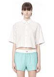 T by ALEXANDER WANG CROPPED SHORT SLEEVE POPLIN SHIRT TOP Adult 8_n_e