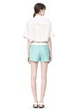 T by ALEXANDER WANG CROPPED SHORT SLEEVE POPLIN SHIRT TOP Adult 8_n_r