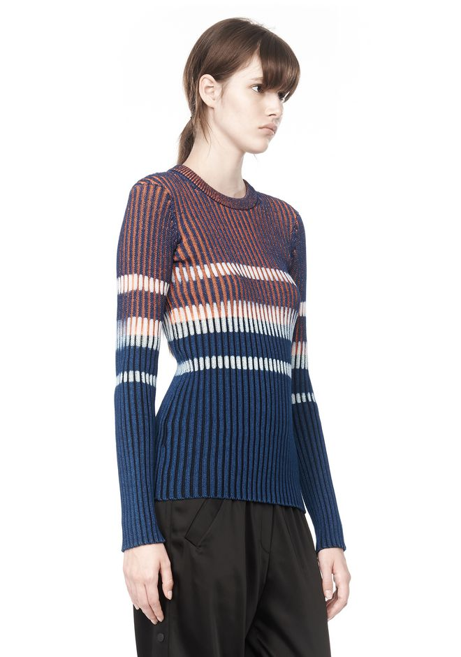 T by ALEXANDER WANG BLEACH STRIPE FITTED PULLOVER TOP Adult 12_n_a