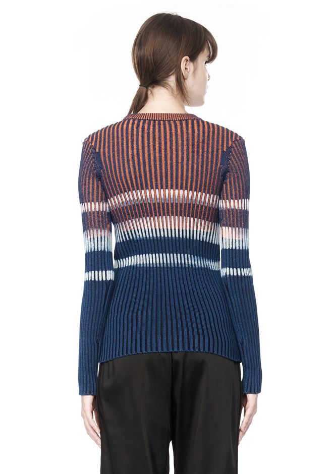 T by ALEXANDER WANG BLEACH STRIPE FITTED PULLOVER TOP Adult 12_n_d