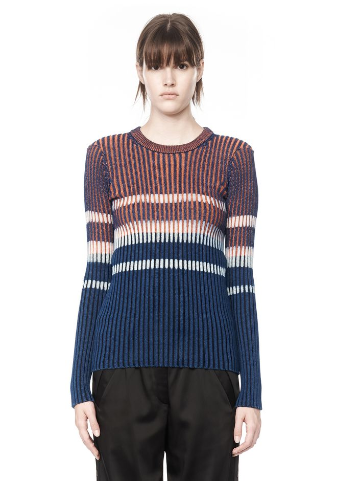 T by ALEXANDER WANG BLEACH STRIPE FITTED PULLOVER TOP Adult 12_n_e