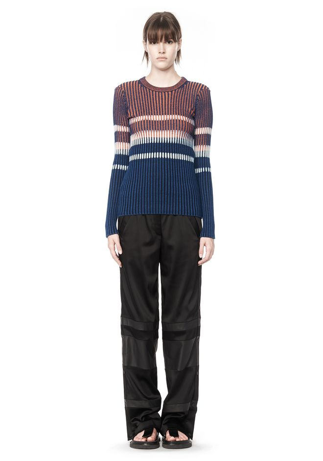 T by ALEXANDER WANG BLEACH STRIPE FITTED PULLOVER TOP Adult 12_n_f