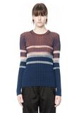 T by ALEXANDER WANG BLEACH STRIPE FITTED PULLOVER TOP Adult 8_n_e