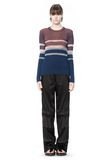 T by ALEXANDER WANG BLEACH STRIPE FITTED PULLOVER TOP Adult 8_n_f