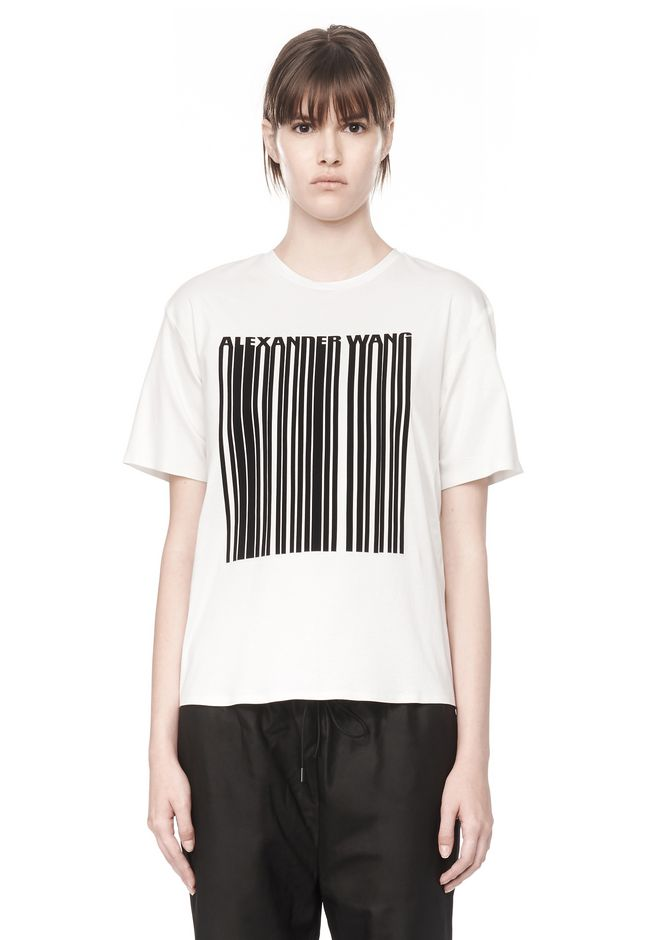 t shirt with barcode logo top alexander wang official site