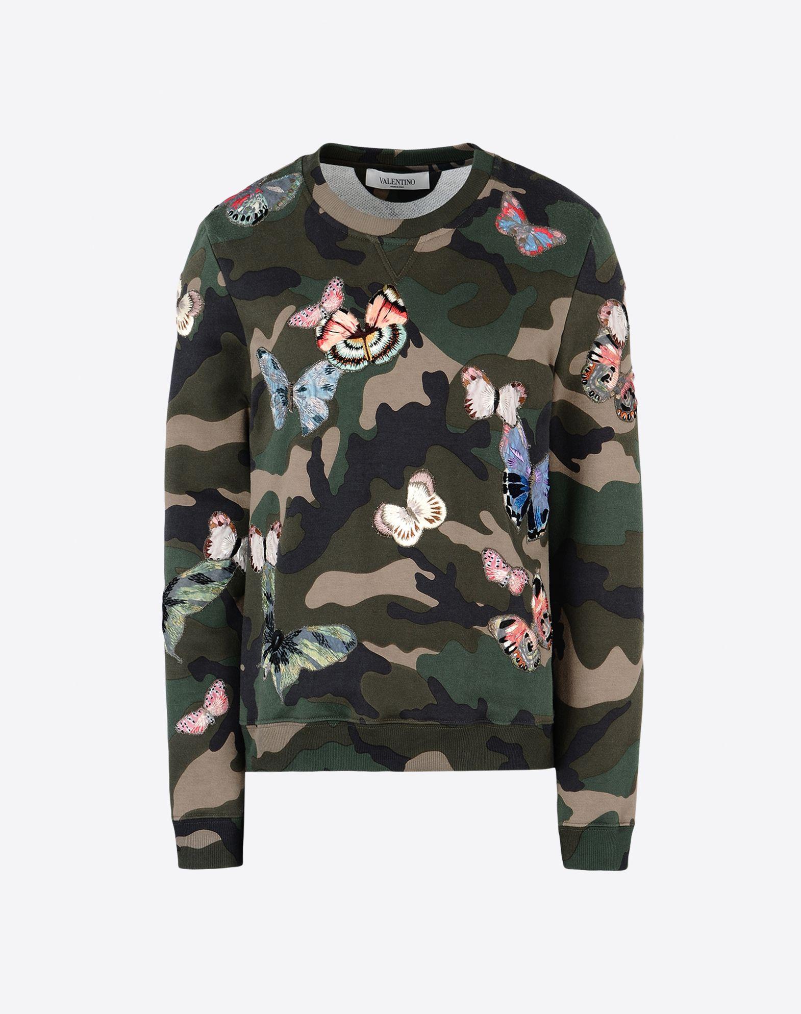 VALENTINO Embroidered detailing Sweatshirt fleece Camouflage design Round collar Long sleeves  37710367rw