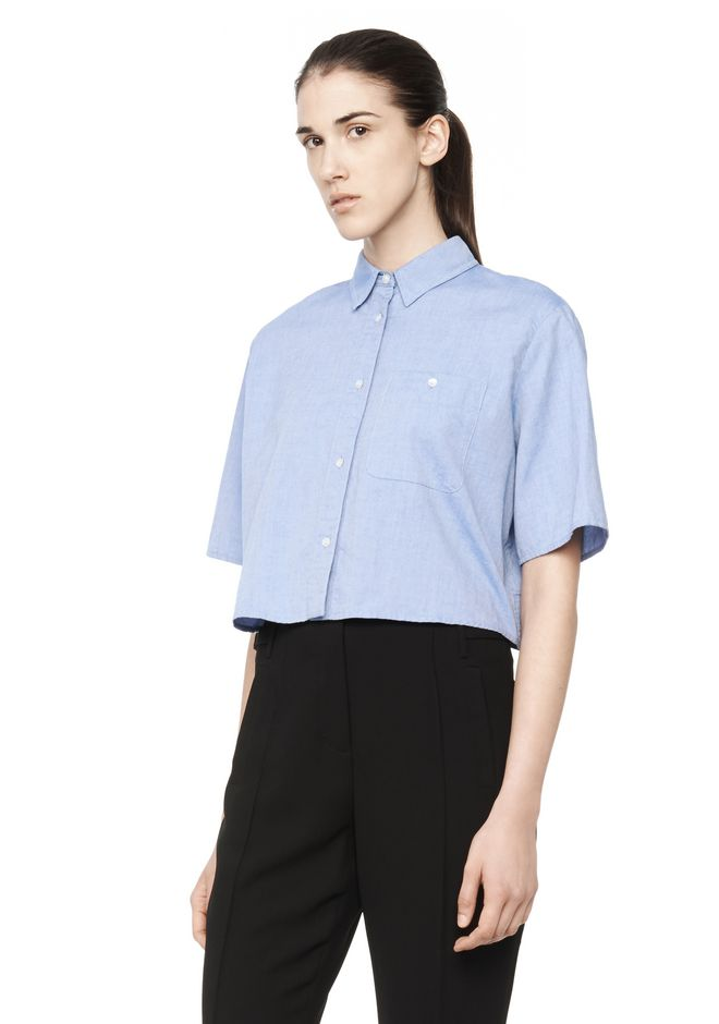 Alexander Wang CROPPED COLLARED OXFORD SHIRT TOP | Official Site