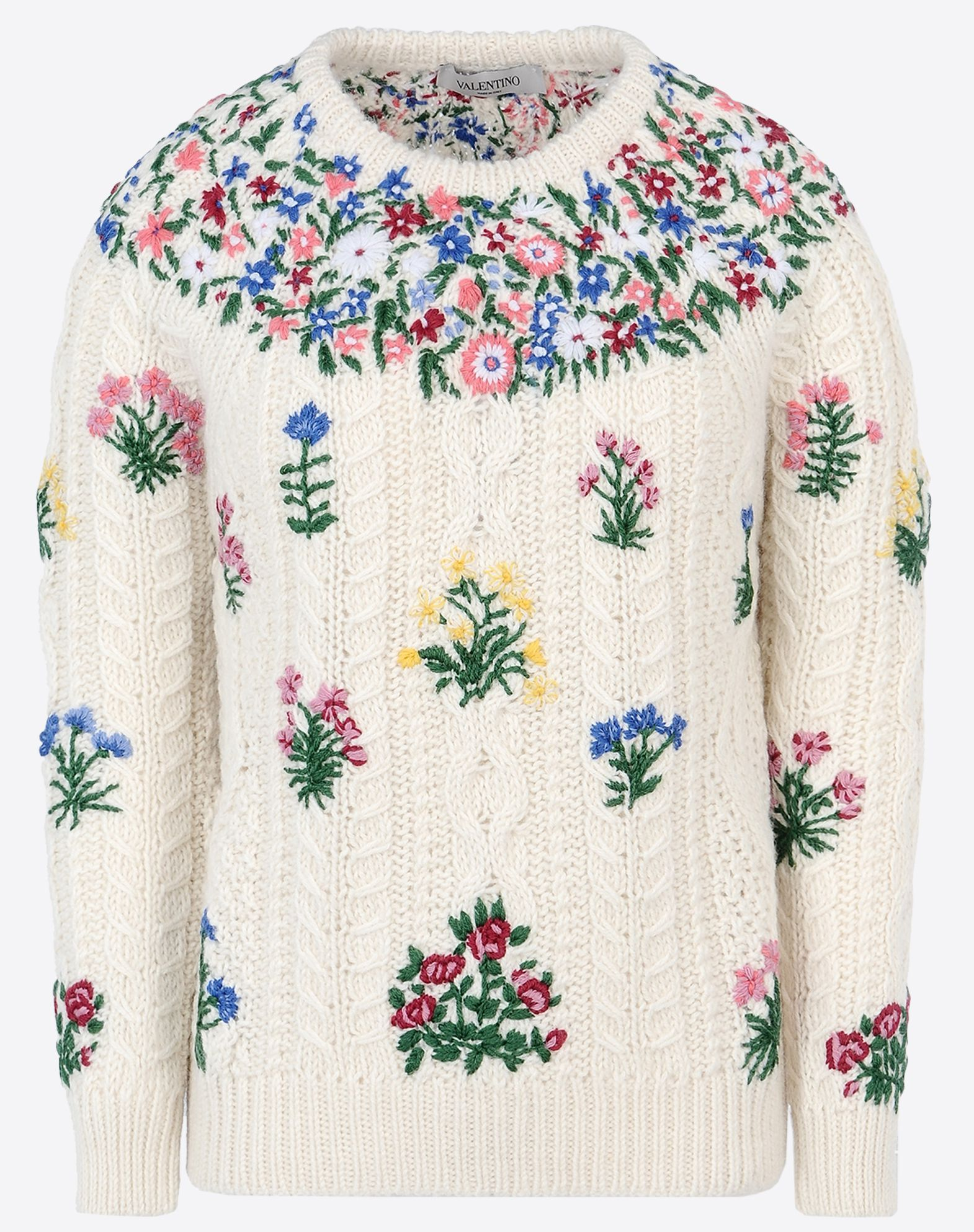 VALENTINO Embroidered detailing Embroidered detailing Medium-weight sweater Cable stitch Round collar Long sleeves  37722968pp