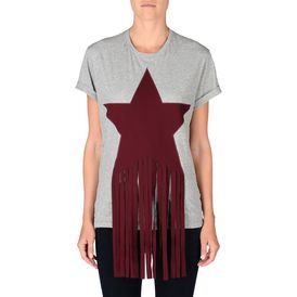 Grey Embellished Star Patch T-Shirt