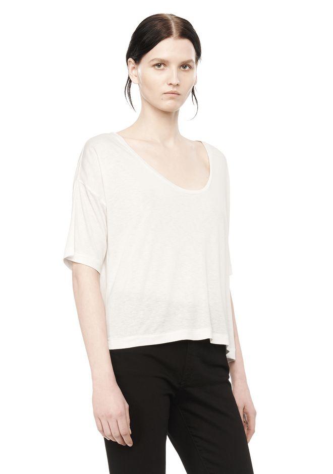 Alexander wang classic short sleeve low neck tee short for Low neck t shirts women s