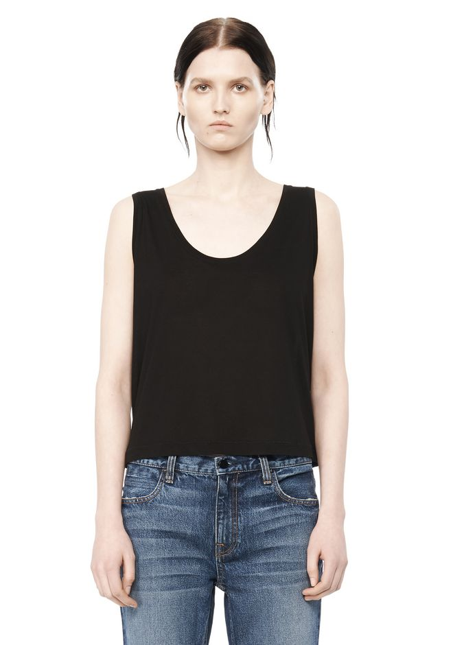 T by ALEXANDER WANG TEES CLASSIC LOW NECK FLARED TANK