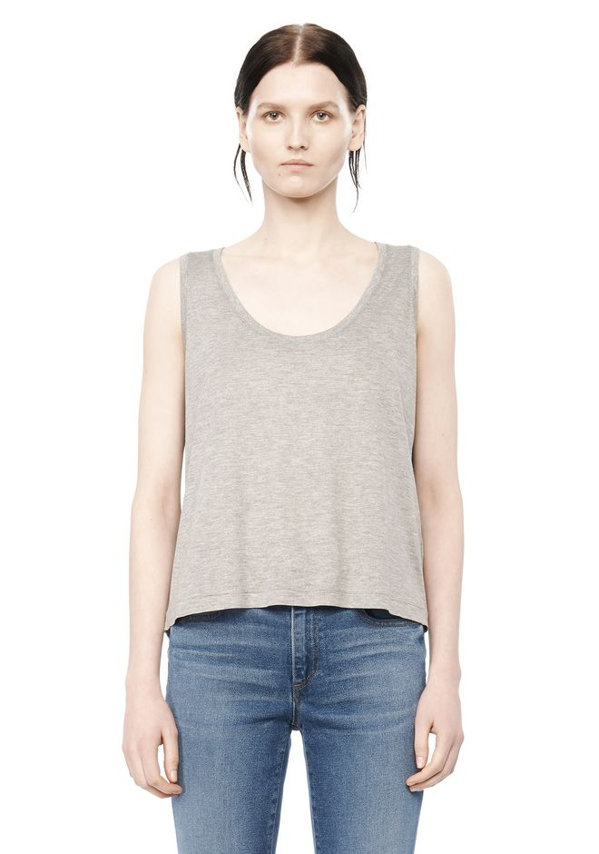 Classic low neck flared tank tee alexander wang for Low neck t shirts women s