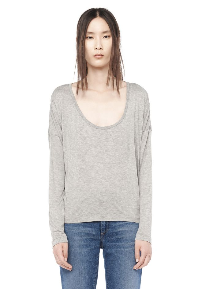 T by ALEXANDER WANG TOPS CLASSIC LONG SLEEVE LOW NECK TEE
