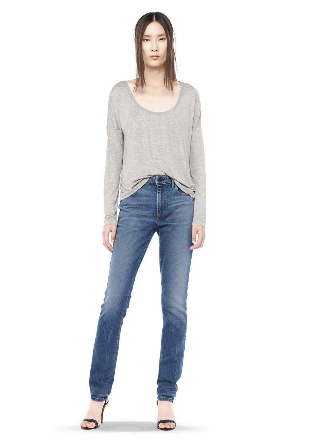 Classic long sleeve low neck tee top alexander wang for Low neck t shirts women s