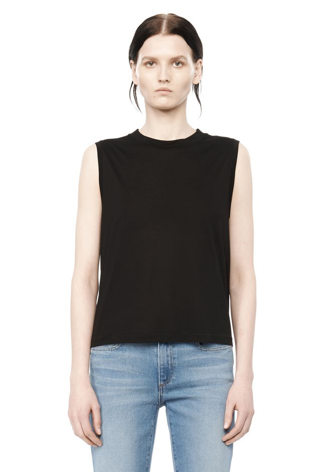 T by ALEXANDER WANG TOPS CLASSIC HIGH NECK FLARED TANK