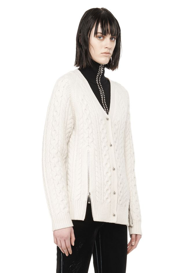 ALEXANDER WANG CABLE KNIT V-NECK CARDIGAN  TOP Adult 12_n_a