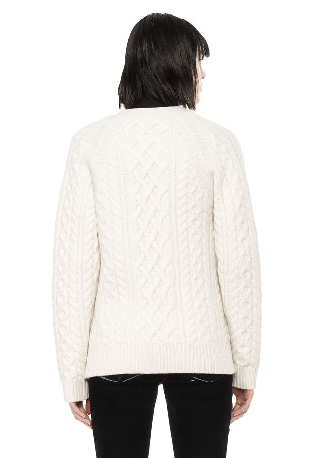 ALEXANDER WANG CABLE KNIT V-NECK CARDIGAN  TOP Adult 12_n_d
