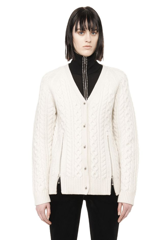 ALEXANDER WANG CABLE KNIT V-NECK CARDIGAN  TOP Adult 12_n_e