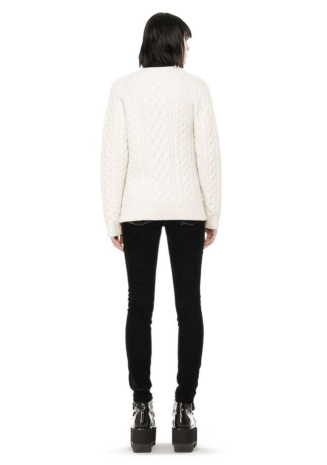 ALEXANDER WANG CABLE KNIT V-NECK CARDIGAN  TOP Adult 12_n_r