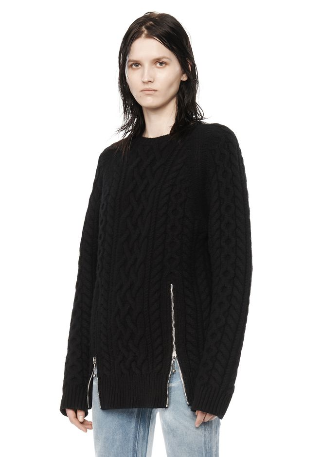ALEXANDER WANG CABLE KNIT PULLOVER TOP Adult 12_n_a
