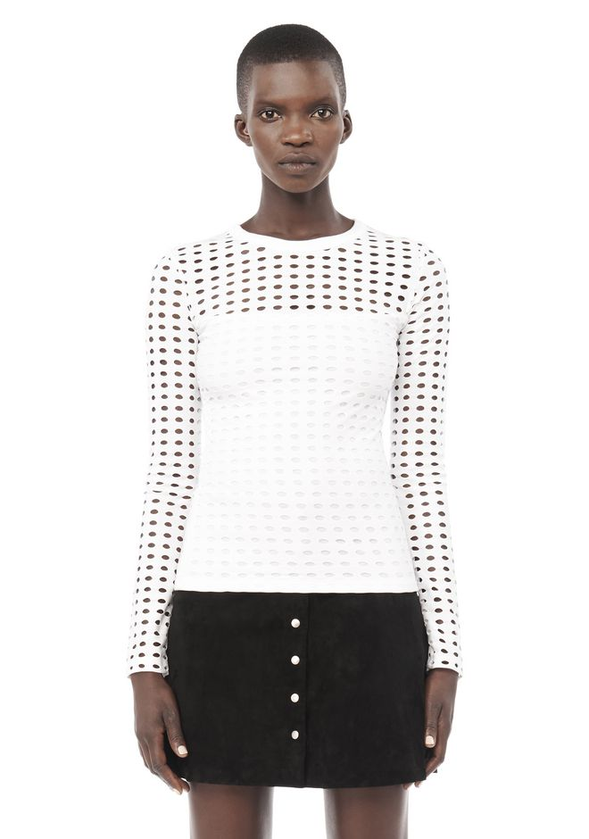 T by ALEXANDER WANG TOPS CIRCULAR HOLE LONG SLEEVE TOP