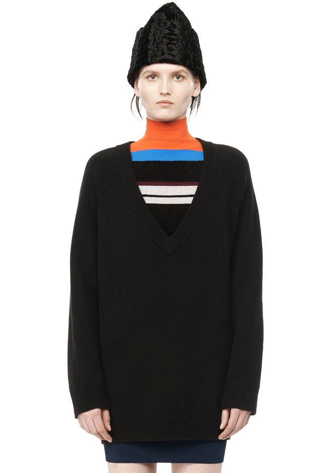 T by ALEXANDER WANG TOPS CASHWOOL  V-NECK SWEATER