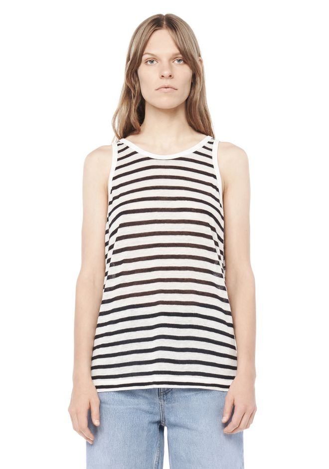 T by ALEXANDER WANG TOPS STRIPE LINEN TANK