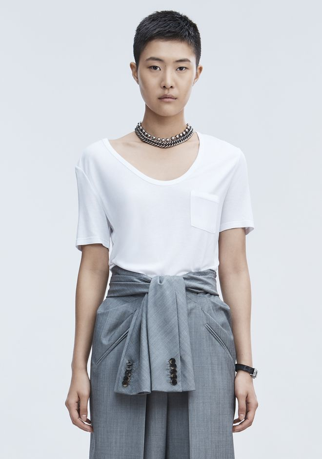 T by ALEXANDER WANG CROPPED TEE WITH POCKET  TOP Adult 12_n_e