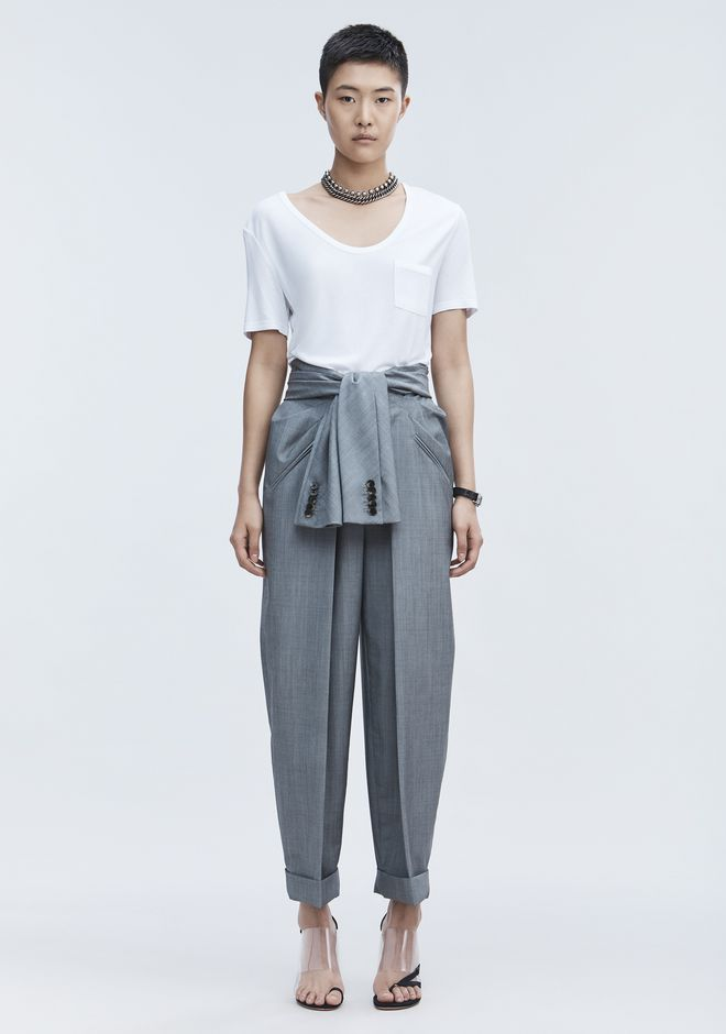T by ALEXANDER WANG CROPPED TEE WITH POCKET  TOP Adult 12_n_f