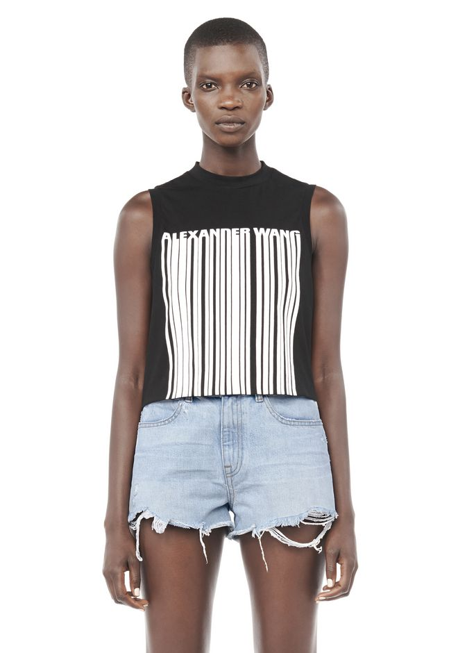 ALEXANDER WANG TOPS Women WELDED BARCODE CROPPED TANK