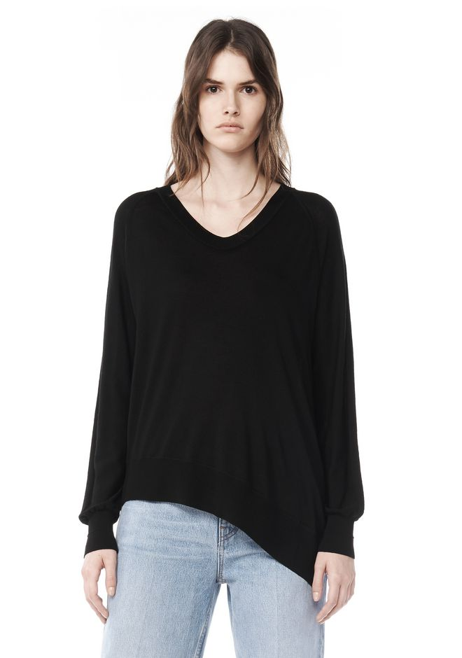 ALEXANDER WANG knitwear-ready-to-wear-woman KNIT V-NECK PULLOVER WITH ASYMMETRIC HEM
