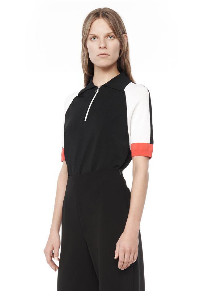 Jersey Knit Short Sleeve Polo Shirt Top Alexander Wang