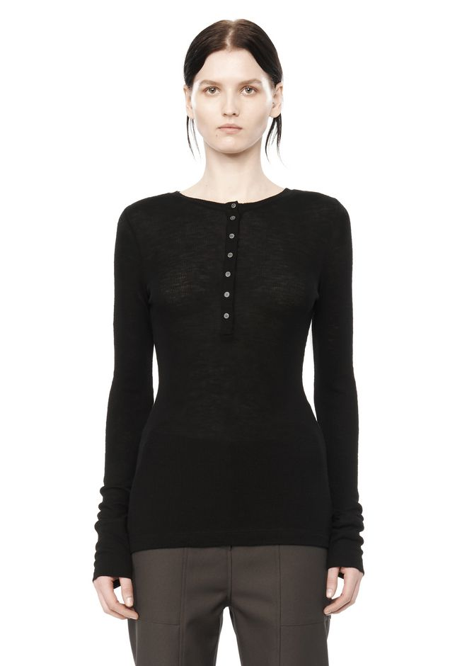 T by ALEXANDER WANG knitwear-t-by-alexander-wang-woman RIBBED LONG SLEEVE HENLEY