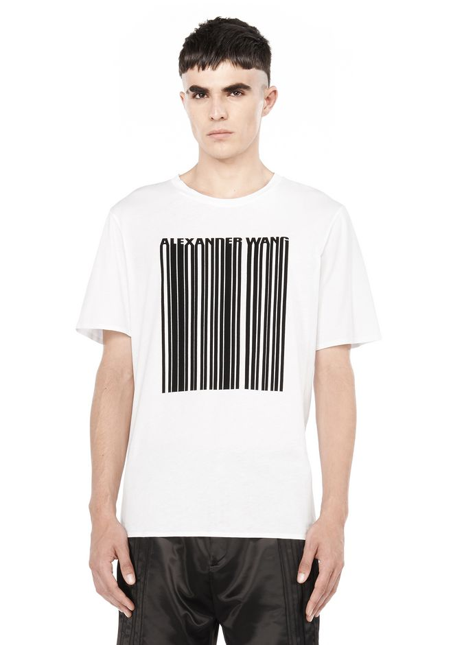 ALEXANDER WANG TOPS Men BARCODE SHORT SLEEVE TEE