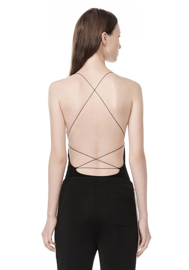 T by ALEXANDER WANG MODAL SPANDEX SLEEVELESS BODYSUIT TOP Adult 12_n_e