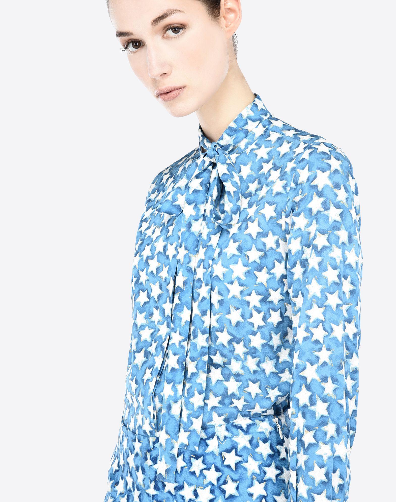 VALENTINO Crêpe Multicolour Pattern Bow collar Dual cuffs Button closing Long sleeves  37859903cg