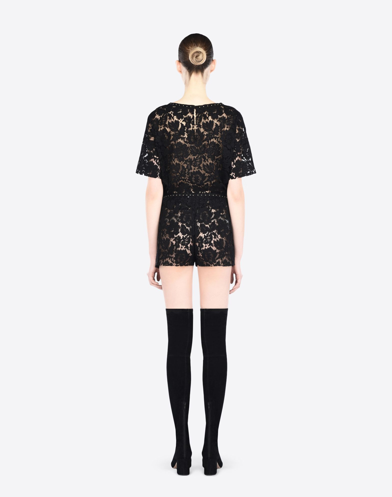 VALENTINO Studs Lace Solid colour Round collar Rear button closure Short sleeves  37860512bk