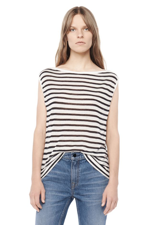 T by ALEXANDER WANG TOPS STRIPE LINEN BOATNECK MUSCLE TEE