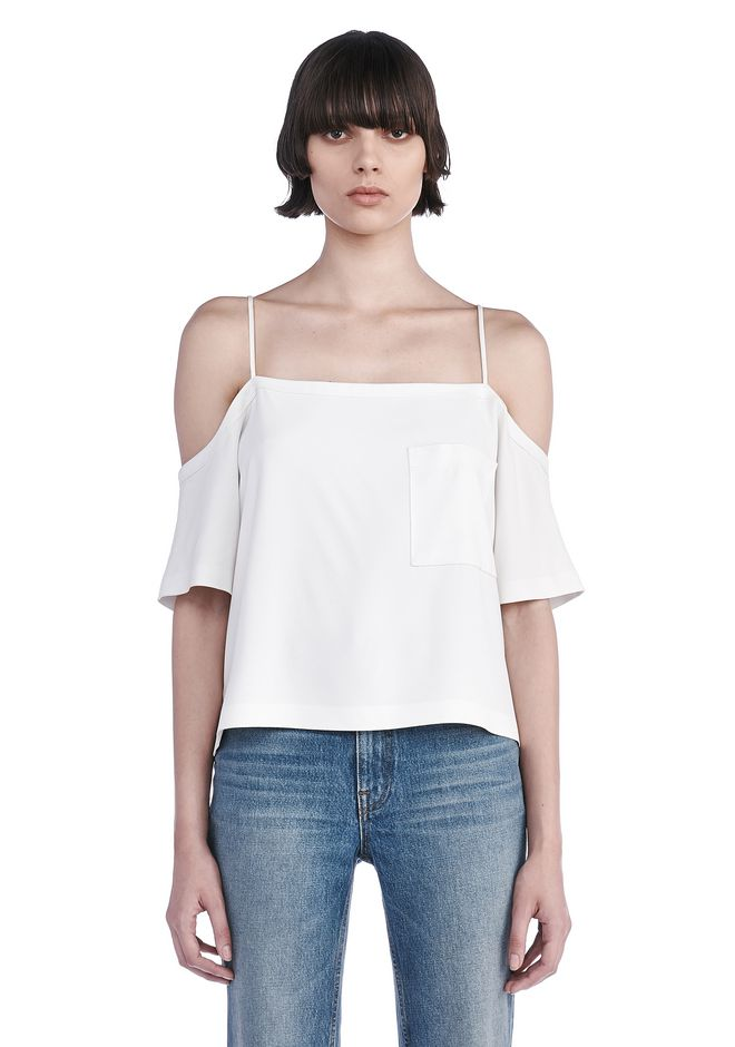 T by ALEXANDER WANG TOPS POLY CREPE OFF THE SHOULDER TOP