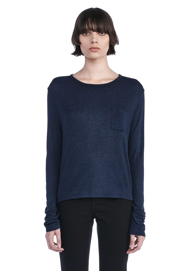 T by ALEXANDER WANG TOPS CLASSIC LONG SLEEVE TEE WITH POCKET