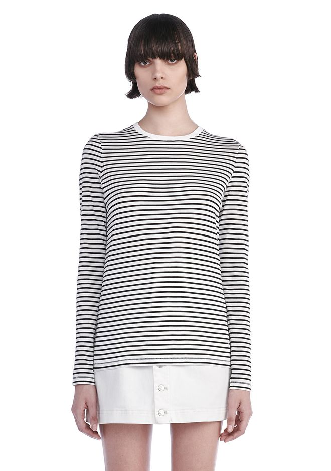 T by ALEXANDER WANG TOPS SUPERFINE COTTON LONG SLEEVE TEE