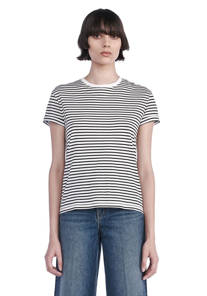 T by ALEXANDER WANG TOPS SUPERFINE COTTON CREWNECK TEE
