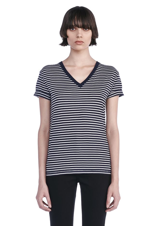 T by ALEXANDER WANG TOPS SUPERFINE COTTON V-NECK TEE