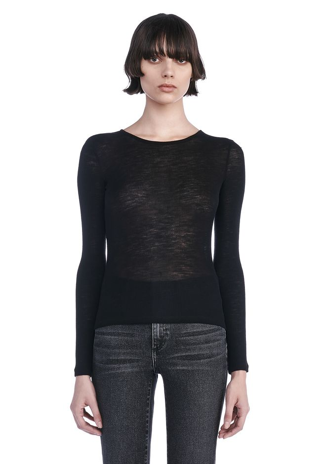 T by ALEXANDER WANG t-by-alexander-wang-classics SHEER WOOLY RIB CREW NECK LONG SLEEVE
