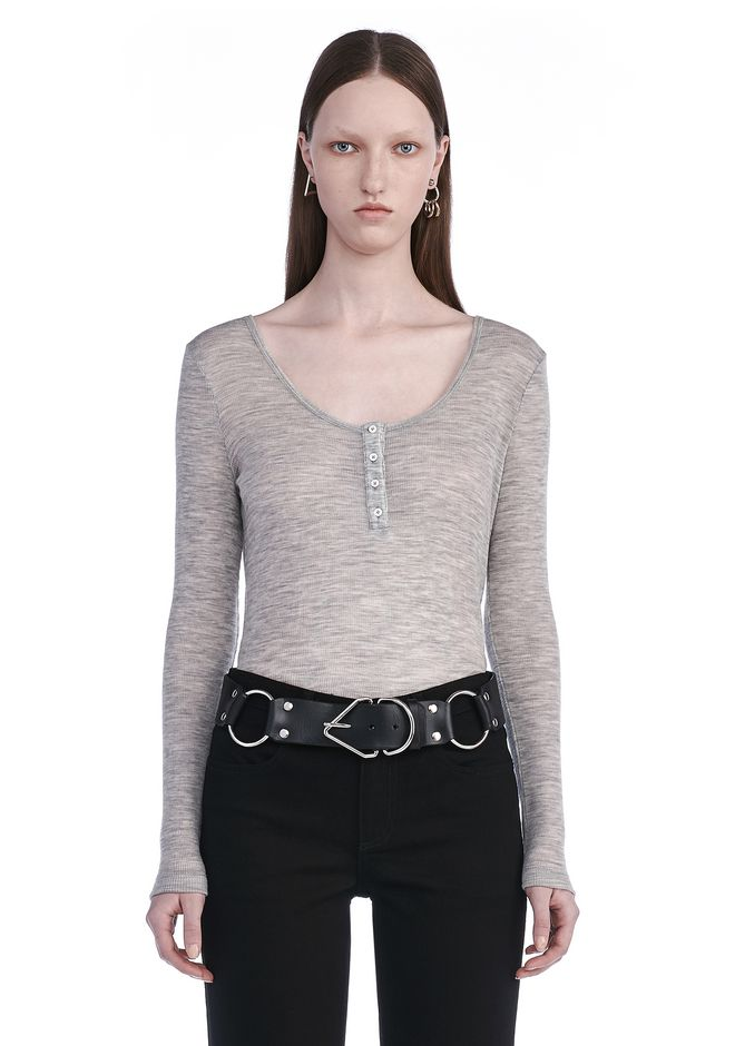 T by ALEXANDER WANG TOPS SHEER WOOLY RIB LOW NECK HENLEY