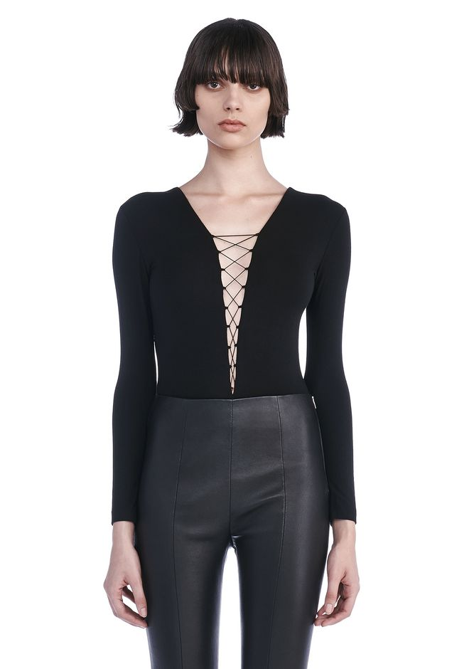 T by ALEXANDER WANG womens-classics MODAL SPANDEX LONG SLEEVE BODYSUIT